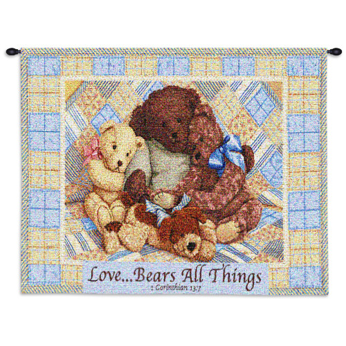 Love Bears | Woven Tapestry Wall Art Hanging | Cute Cuddly Stuffed Animals with Bible Quote | 100% Cotton USA Size 34x26 Wall Tapestry