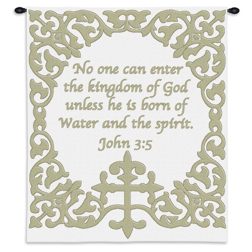 Baby Cross with Scripture Wall Tapestry Wall Tapestry