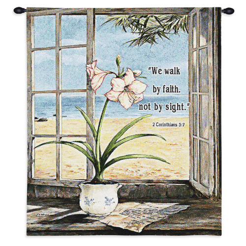 Pure Country Weavers - Ocean Amaryllis Hand Finished European Style Jacquard Woven Wall Tapestry. USA Size 34x26 Wall Tapestry