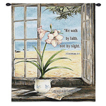 Ocean Amaryllis By Fabrice De Villeneuve | Woven Tapestry Wall Art Hanging | Planter'S Pot Peaceful Blooms In Window Of Beach House Themes | 100% Cotton USA Wall Tapestry