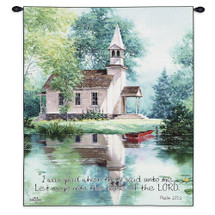 Lakeside Scripture By Jack Sorenson | Woven Tapestry Wall Art Hanging | Christian Artwork Of Church In Peaceful Woods By Lakeside For Sunday Morning Service | 100% Cotton USA Wall Tapestry