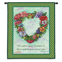 Treasured Heart - Woven Tapestry Wall Art Hanging For Home Living Room & Office Decor - Floral Heart Scripture Biblical Religious Artwork - 100% Cotton - USA Wall Tapestry