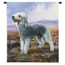 Bedlington Terrier by Robert May | Woven Tapestry Wall Art Hanging | Posing Dog in Dreamy Field Oil Painting | 100% Cotton USA Size 34x26 Wall Tapestry