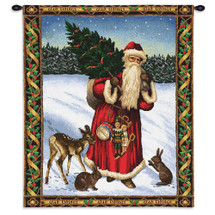 Father Christmas Red | Woven Tapestry Wall Art Hanging | Santa on Snowy Field Festive Holiday Decor | 100% Cotton USA Size 34x26 Wall Tapestry