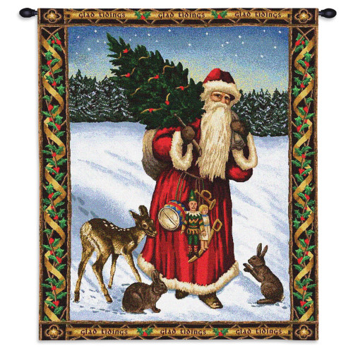 Pure Country Weavers - Father Christmas Santa Claus Red Hand Finished European Style Jacquard Woven Wall Tapestry. USA Size 34x26 Wall Tapestry