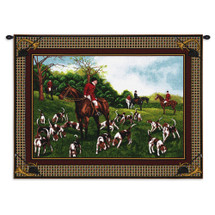 Fox Hunt | Woven Tapestry Wall Art Hanging | Proper English Fox Hunt Richly Classic Houndstooth Artwork Border | 100% Cotton USA Wall Tapestry