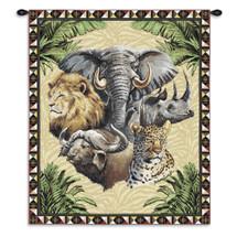 Big Five Elephant Rhinoceros Lion Buffalo Leopard Wall Tapestry Wall Tapestry