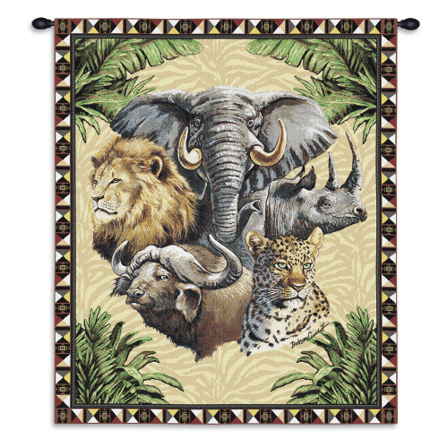 Big Five Elephant Rhinoceros Lion Buffalo Leopard Hand Finished European Style Jacquard Woven Wall Tapestry by Artisan Textile Mill Fine Art Tapestries. 100% Cotton USA size 26x34 Woven to Last A Lifetime Wall Tapestry
