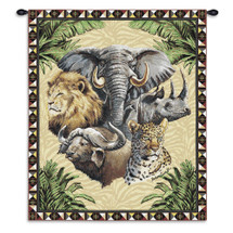Big Five | Woven Tapestry Wall Art Hanging | Elephant Cheetah Water Buffalo Lion Rhinoceros Hanging African Artwork | 100% Cotton USA Wall Tapestry