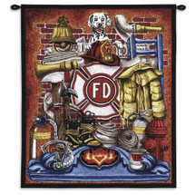 Fireman Pride | Woven Tapestry Wall Art Hanging | Classic Firehouse Fire Engine With Dalmatian Dog | 100% Cotton USA 32X26 Wall Tapestry