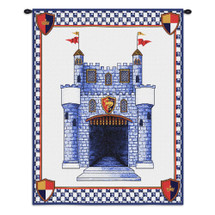 Castle | Woven Tapestry Wall Art Hanging | Knight Fantasy Themed Embroidered Blue Castle | 100% Cotton USA Size 33x26 Wall Tapestry