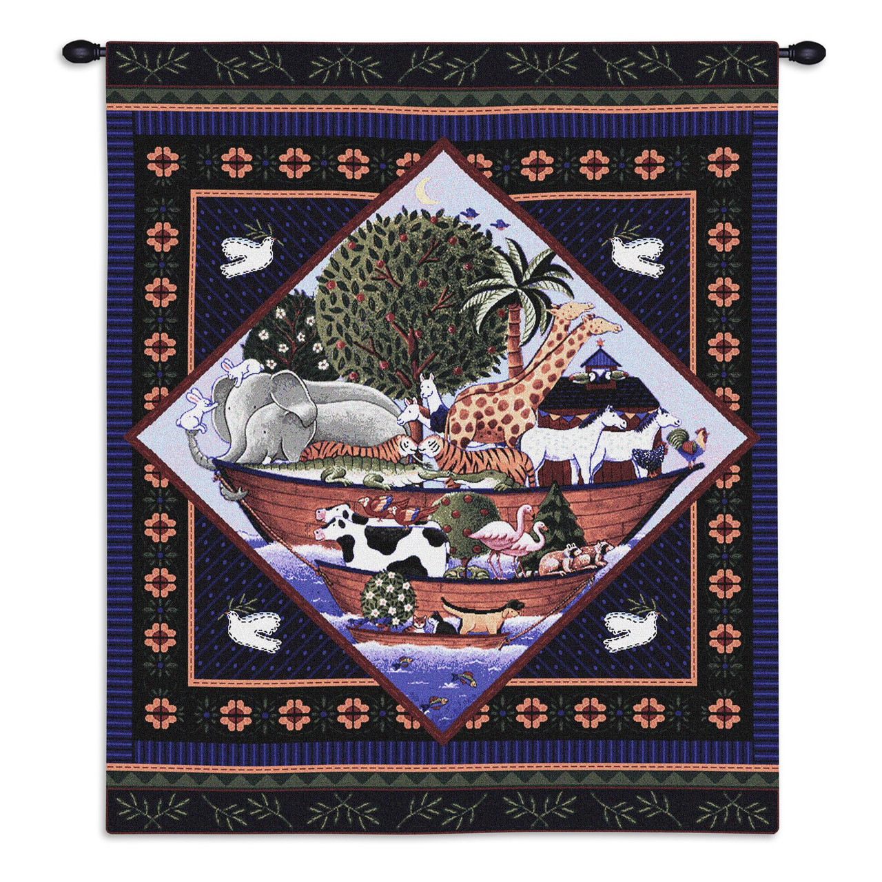 Noah'S Ark By Coco Dawley | Woven Tapestry Wall Art Hanging | Child Art  Children'S Characters And Scenes Noah'S Ark Biblical Story | 100% Cotton USA
