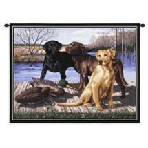 The Board Meeting by Bob Christie | Woven Tapestry Wall Art Hanging | Labradors Waiting on Dock with Ducks | 100% Cotton USA Size 34x26 Wall Tapestry