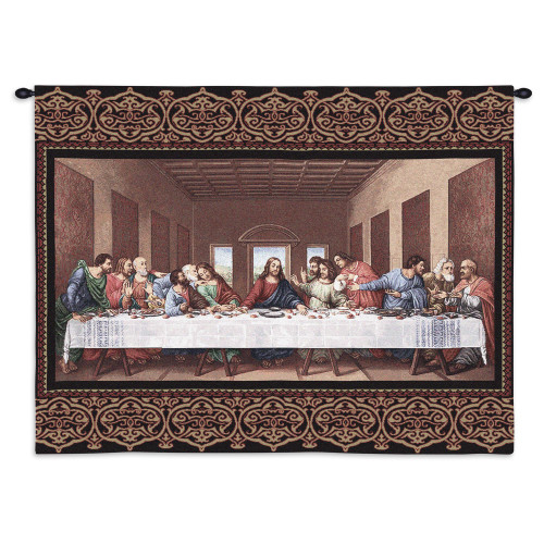The Last Supper by Leonardo da Vinci   Woven Tapestry Wall Art Hanging   Religious Inspirational Jesus Last Supper   100% Cotton USA Size 34x26 Wall Tapestry