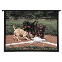 Stealing 2nd - Adorable Colorful Labs Playing on Baseball Field - Wall Tapestry