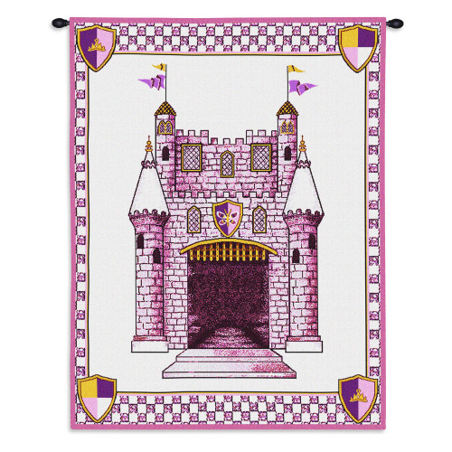 Pure Country Weavers - Castle Pink Hand Finished European Style Jacquard Woven Wall Tapestry. USA Size 33x26 Wall Tapestry