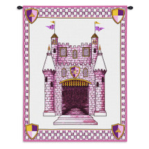 Castle Pink | Woven Tapestry Wall Art Hanging | Princess Girl Baby Castle Embroidery Pink Fairytale | 100% Cotton USA 33X26 Wall Tapestry