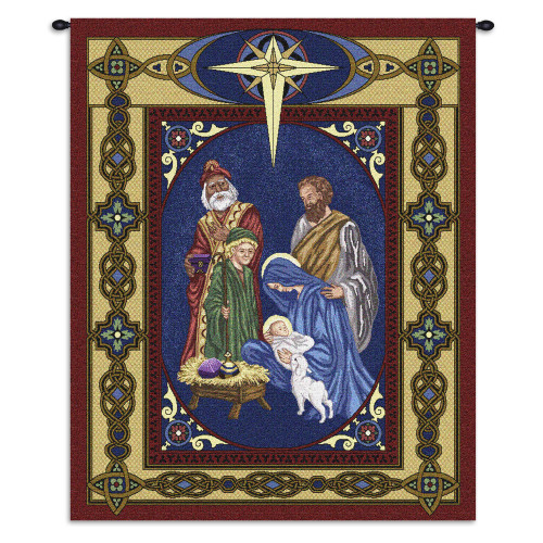 Pure Country Weavers - Nativity Hand Finished European Style Jacquard Woven Wall Tapestry. USA Size 34x26 Wall Tapestry