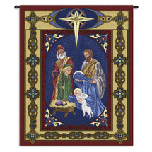 Nativity | Woven Tapestry Wall Art Hanging | Ornate Religious Scene with Border | 100% Cotton USA Size 34x26 Wall Tapestry