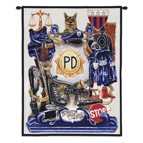 Pure Country Weavers - Policeman Pride Hand Finished European Style Jacquard Woven Wall Tapestry Hanging for Home & Office Decor Cotton USA 32x26 Wall Tapestry