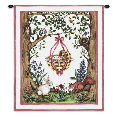 Pure Country Weavers - Rock A Bye Pink Hand Finished European Style Jacquard Woven Wall Tapestry. USA Size 34x26 Wall Tapestry