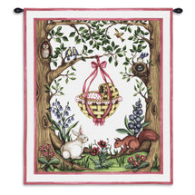 Rock-a-Bye Pink | Woven Tapestry Wall Art Hanging | Whimsical Baby Basket amongst Forest Creatures | 100% Cotton USA Size 34x26 Wall Tapestry