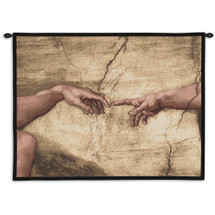 Creation Adam Wall Without Words Tapestry By Michelangelo Buonarroti  - Renaissance Masterwork Masterpiece Inspirational Religious Beige Creation Touch Of God Themed Wall Hanging- 100% Cotton USA 26X34 Wall Tapestry