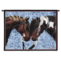 Warriors Truce | Woven Tapestry Wall Art Hanging | Friendly Equestrian Duo | 100% Cotton USA Size 34x26 Wall Tapestry