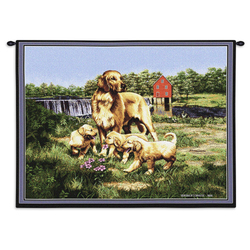 Pure Country Weavers - Golden Retriever with Puppies Hand Finished European Style Jacquard Woven Wall Tapestry. USA Size 26x34 Wall Tapestry