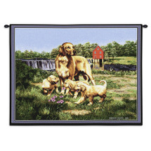 Golden Retriever with Puppies by Bob Christie | Woven Tapestry Wall Art Hanging | Dog Family on River Meadow | 100% Cotton USA Size 34x26 Wall Tapestry