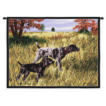Now We Wait German Shorthaired Pointer by Bob Christie | Woven Tapestry Wall Art Hanging | Adult and Puppy Hunting in Grassy Field | 100% Cotton USA Size 34x26 Wall Tapestry