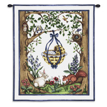 Rock-a-Bye Blue | Woven Tapestry Wall Art Hanging | Whimsical Baby Basket amongst Forest Creatures | 100% Cotton USA Size 34x26 Wall Tapestry