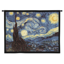 Starry Night by Van Gogh | Woven Tapestry Wall Art Hanging | Famous Masterpiece Post|Impressionist of Saint|Rémy|De|Provence Abstract Landscape | USA 40X53 Wall Tapestry