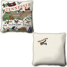Tennessee State Hand Finished Jacquard Woven Impressively Large Throw Pillow Cover; 100% Cotton USA 24x24 Pillow