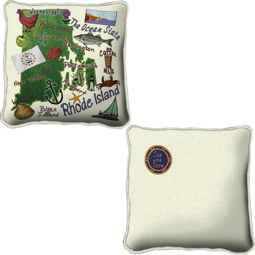 Rhode Island State Gift Hand finished Decorative Woven Throw Pillow by Pure Country Weavers; 100% Cotton USA  24x24 Pillow