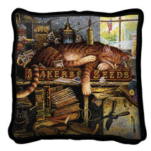 Remington The Horticulturist Hand finished Woven Pillow by Pure Country Weavers.  Made in the USA.  Size 17 x 17 Woven to Last a Lifetime Pillow