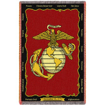 Marine Corps Gift Blanket - USMC Battles American Made Large Heirloom Woven Throw - 100% Cotton Size 70x50 Afghan