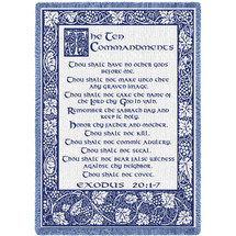 Ten Commandments Natural Woven Throw Blanket with Fringe by Artisan Textile Mill Pure Country Weavers USA Made Size 70x50 Cotton Woven to Last a Lifetime Afghan