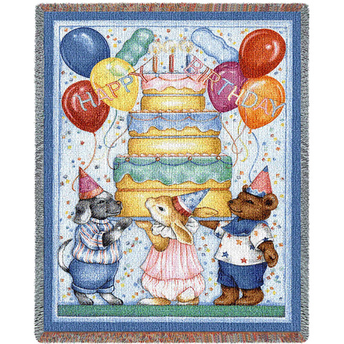 Pure Country Weavers | Happy Birthday Tapestry Mini Woven Tapestry Throw Blanket with Fringe Cotton USA 35X54 Tapestry Throw