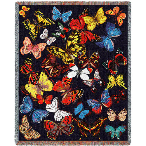 Colorful Butterflies Throw Blanket For Butterfly Lover Large Woven From Cotton Made in the USA 72x54 Tapestry Throw