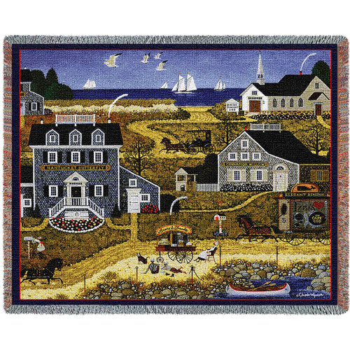 Pure Country Weavers   Salty Witch Bay Woven Tapestry Throw Blanket with Fringe Cotton USA 72x54 Tapestry Throw