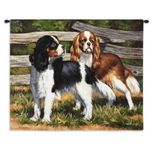 Fence Line Cocker Spaniel Dog by Bob Christie | Woven Tapestry Wall Art Hanging | Pair of Exploring Dogs Oil Painting | 100% Cotton USA Size 34x26 Wall Tapestry