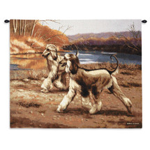 River Walk by Bob Christie | Woven Tapestry Wall Art Hanging | Afghan Hounds Stilling through Autumn Landscape | 100% Cotton USA Size 34x26 Wall Tapestry