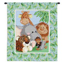 Stuffed Safari | Woven Tapestry Wall Art Hanging | Adorable Jungle Animals - Toddler Room Decor | 100% Cotton USA Size 31x26 Wall Tapestry