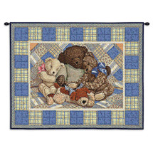Bear Hugs | Woven Tapestry Wall Art Hanging | Vintage Cuddling Stuffed Animals on Plaid | 100% Cotton USA Size 31x25 Wall Tapestry