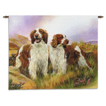 Welsh Springer Spaniel by Robert May | Woven Tapestry Wall Art Hanging | Happy Dog Pair on Dreamy Field Oil Painting | 100% Cotton USA Size 34x26 Wall Tapestry