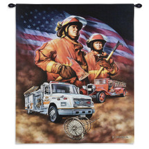 Firefighter | Woven Tapestry Wall Art Hanging | Heroic American Firemen with Fire Engines | 100% Cotton USA Size 36x24 Wall Tapestry