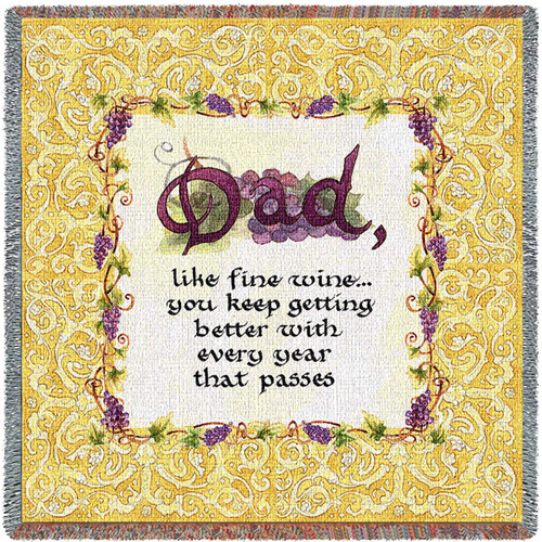 Dad Like Fine Wine You Keep Getting Better With Every Year That Passes - Lap Square Cotton Woven Blanket Throw - Made in the USA (54x54) Lap Square