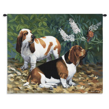 Pure Country Weavers | Bassett Hound And Butterfly Hand Finished European Style Jacquard Woven Wall Tapestry. USA 26X32 Wall Tapestry