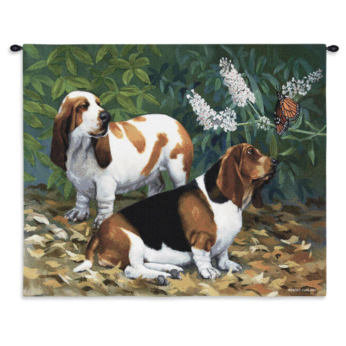 Pure Country Weavers - Bassett Hound and Butterfly Hand Finished European Style Jacquard Woven Wall Tapestry. USA Size 26x32 Wall Tapestry